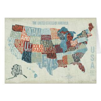 Mapa de los E.E.U.U. con los estados en palabras Tarjeta De Felicitación
