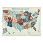 Mapa de los E.E.U.U. con los estados en palabras Tarjeta Postal