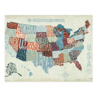 Mapa de los E.E.U.U. con los estados en palabras Postal