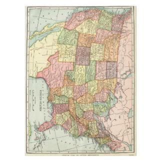 Mapa de los E.E.U.U. del vintage Mantel De Tela