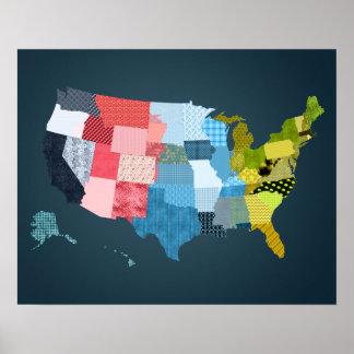 Mapa de los E.E.U.U. en un falso diseño del Póster