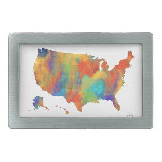 MAPA de los E.E.U.U. - hebilla del cinturón Hebilla Cinturón Rectangular