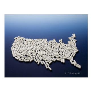 Mapa de los E E U U hechos de las píldoras blanca Postales