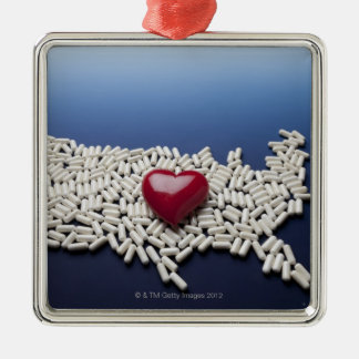 Mapa de los E E U U hechos de píldoras con el cor Adorno De Navidad