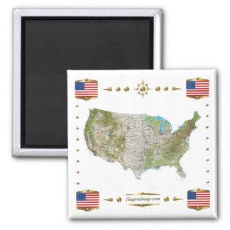 Mapa de los E.E.U.U. + Imán de las banderas