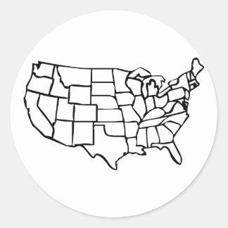 Mapa de los E.E.U.U. Pegatina Redonda