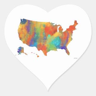 MAPA de los E.E.U.U. - pegatinas del corazón Pegatina En Forma De Corazón