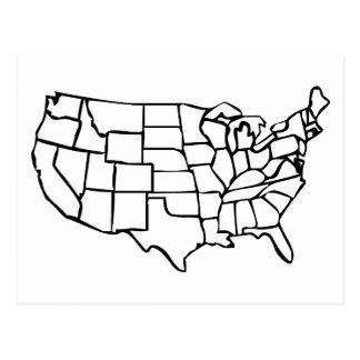 Mapa de los E.E.U.U. Postales
