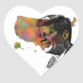 MAPA de los E.E.U.U. que ofrece JFK Pegatina En Forma De Corazón