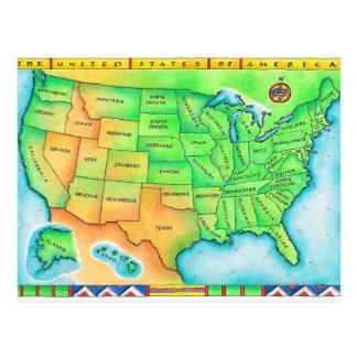 Mapa de los E.E.U.U. Tarjetas Postales