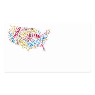 Mapa de los E.E.U.U. Tarjetas De Visita