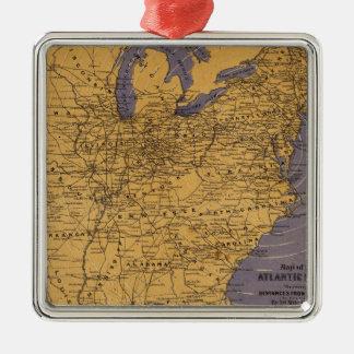 Mapa de los estados atlánticos adorno cuadrado plateado
