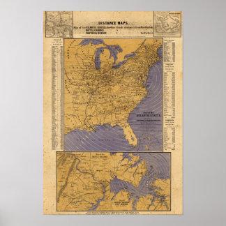 Mapa de los estados atlánticos impresiones