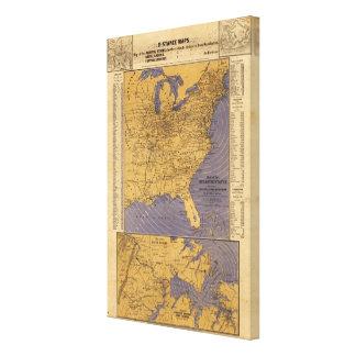 Mapa de los estados atlánticos lienzo envuelto para galerias