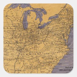 Mapa de los estados atlánticos pegatina cuadrada