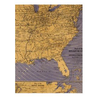 Mapa de los estados atlánticos postal