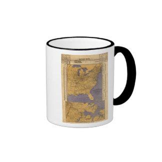 Mapa de los estados atlánticos taza de café