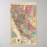 Mapa de los estados de California y de Nevada Póster