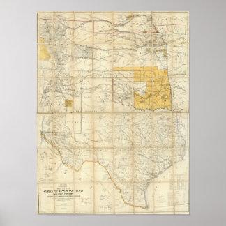 Mapa de los estados de Kansas y de Tejas Impresiones