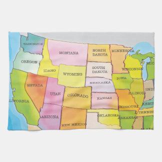 Mapa de los estados de los E.E.U.U. Toalla
