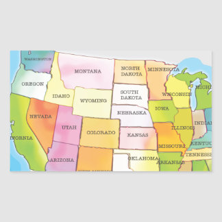 Mapa de los estados de los E.E.U.U. Pegatina Rectangular