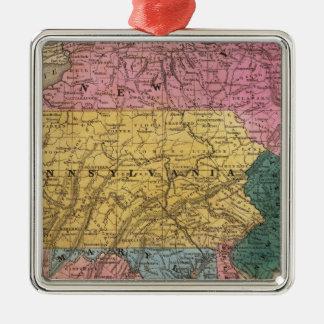 Mapa de los estados medios adorno navideño cuadrado de metal