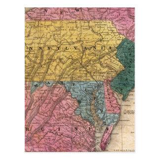 Mapa de los estados medios tarjetas postales