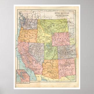 Mapa de los Estados Occidentales del vintage Impresiones