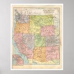 Mapa de los Estados Occidentales del vintage Póster