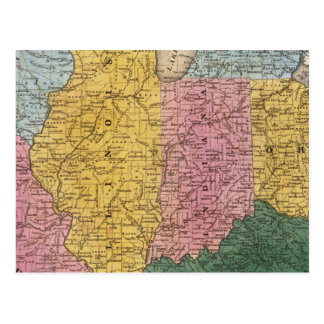 Mapa de los Estados Occidentales Tarjetas Postales