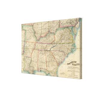 Mapa de los estados sureños de América Impresión En Lienzo Estirada