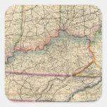 Mapa de los estados sureños de América Calcomanías Cuadradas