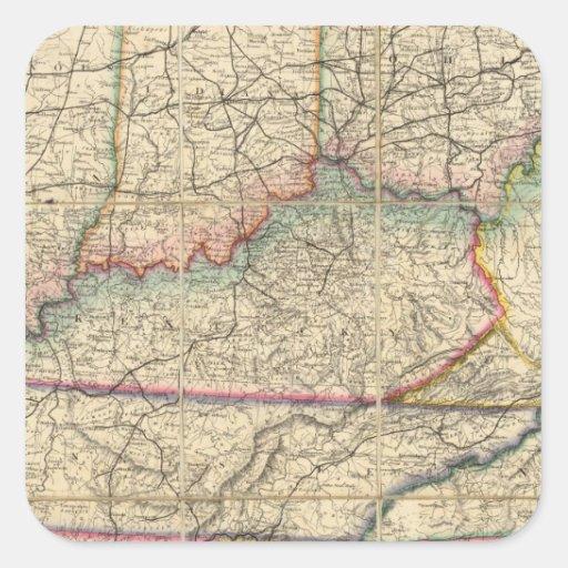 Mapa de los estados sureños de América Pegatina Cuadrada