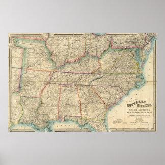 Mapa de los estados sureños de América Póster