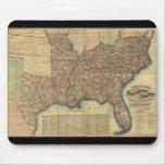 Mapa de los estados sureños de la guerra civil de alfombrillas de ratones