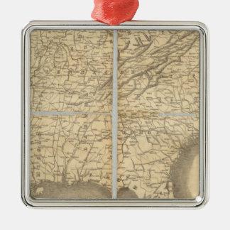 Mapa de los estados sureños adorno cuadrado plateado