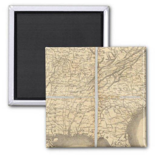 Mapa de los estados sureños imán cuadrado