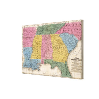 Mapa de los estados sureños impresion de lienzo