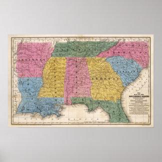 Mapa de los estados sureños impresiones