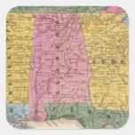 Mapa de los estados sureños pegatina cuadrada