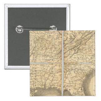 Mapa de los estados sureños pin cuadrada 5 cm