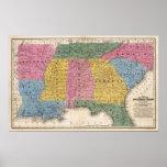 Mapa de los estados sureños póster
