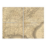Mapa de los estados sureños tarjetas postales