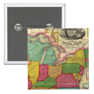 Mapa de los Estados Unidos 2 Pin Cuadrado