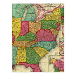Mapa de los Estados Unidos 2 Tarjeta Postal