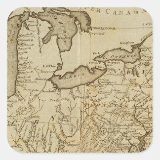 Mapa de los Estados Unidos 3 Pegatina Cuadrada