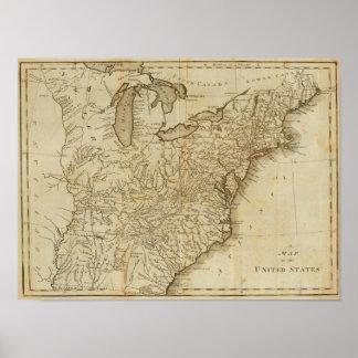 Mapa de los Estados Unidos 3 Póster