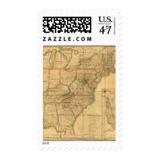 Mapa de los Estados Unidos 4 Estampillas
