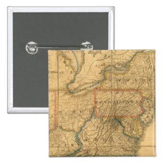 Mapa de los Estados Unidos 4 Pin Cuadrada 5 Cm