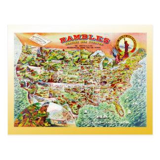Mapa de los Estados Unidos c1890 Postales